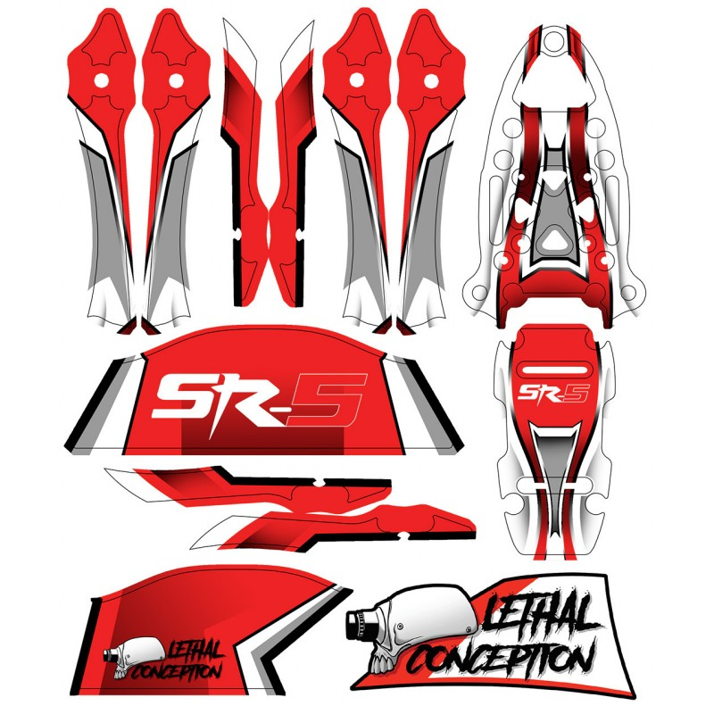 Stickers for SR-5 frame - Red