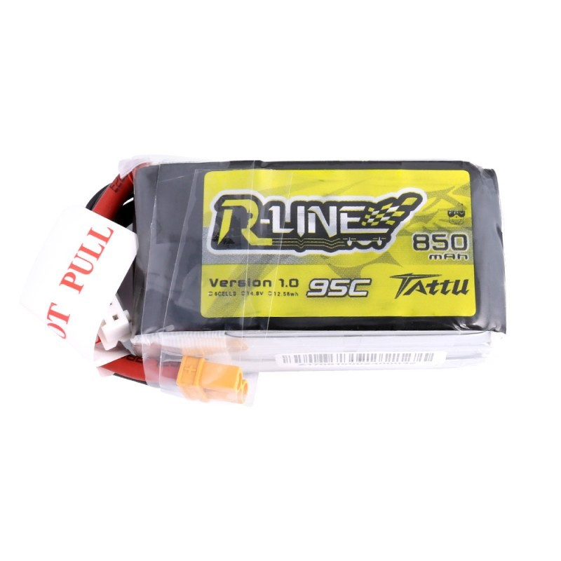 Tattu R-Line 4S 850mAh 95C Lipo Battery (XT30)