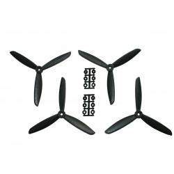 Hélices Tripales HQProp 6x4.5x3 renforcées fibre (4 pces) -2x CW + 2xCCW