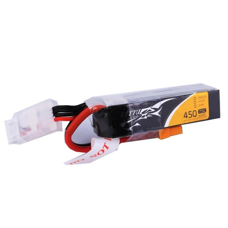 Batterie Lipo Tattu 3S 450mAh 75C (XT30) - Long Size