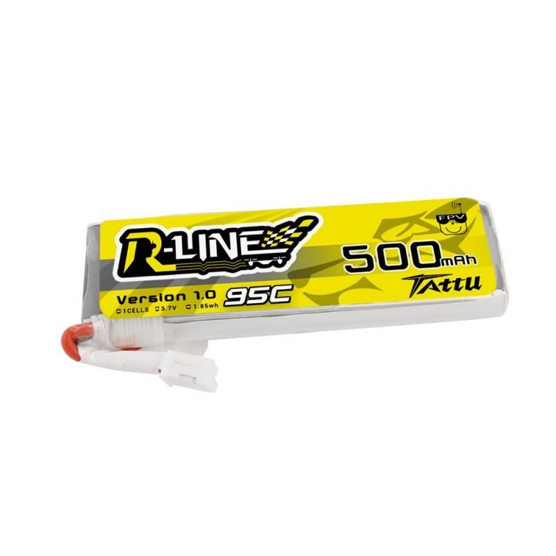 Tattu R-Line 1S 500mAh 95C Lipo Battery (JST-PHR)