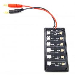 Câble de charge pour Lipo 1S 12 ports : 6x MCX & 6x MCPX
