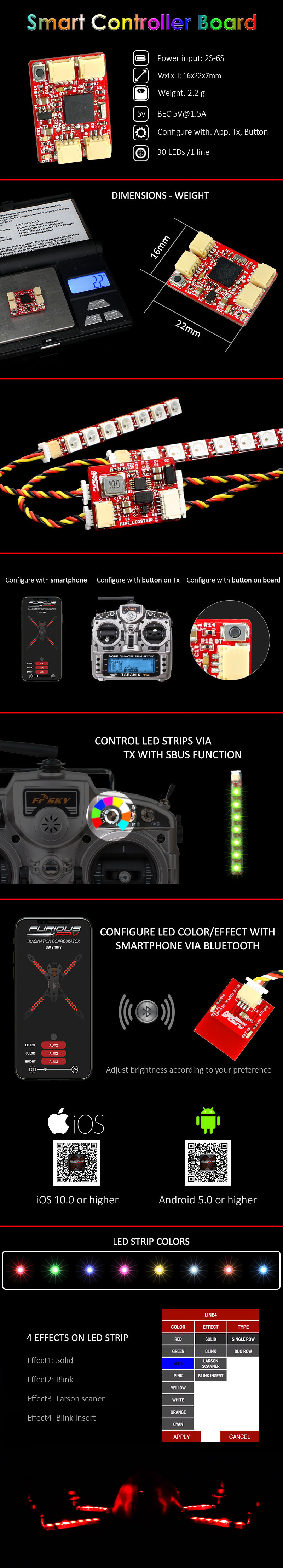 FuriousFPV LED Strip Smart Controller Board