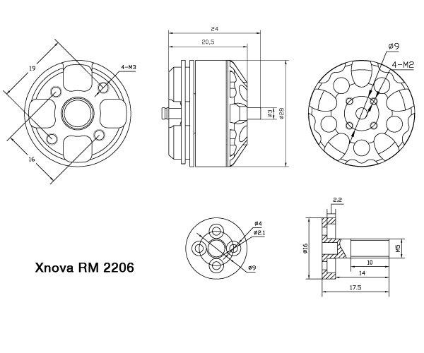 pattern de montage moteur xnova 2206